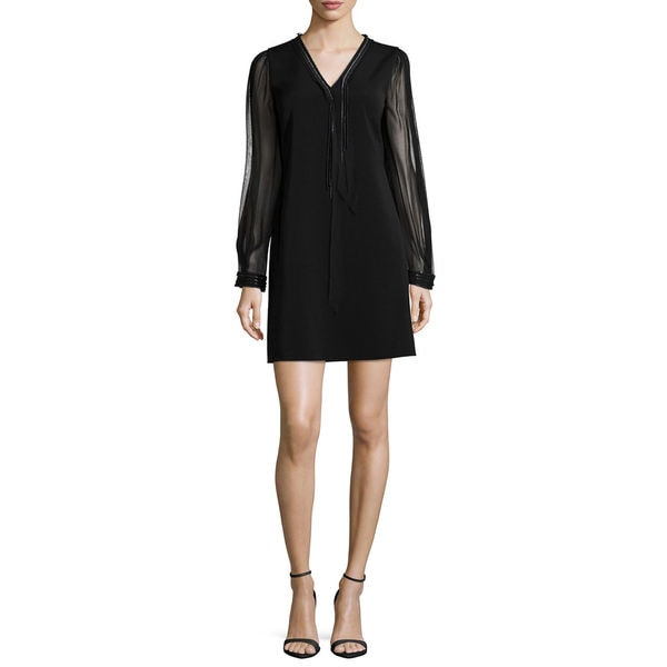 Elie Tahari Pencey Black Long-sleeve Dress -  Fashion Habits LLC, ET-Pencey-Bk