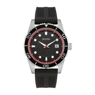 Bulova Men's Black Silicone Strap Watch