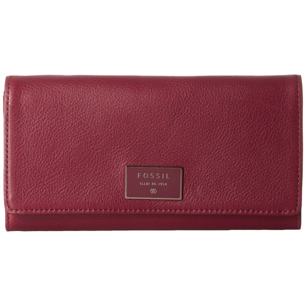 Fossil Dawson Wine Leather Flap Clutch