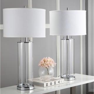 "Safavieh Lighting 31-inch Velma Clear/ Off-White Table Lamp (Set of 2) - 16"" x 16"" x 31"""