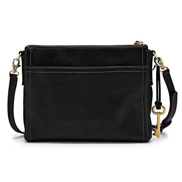 Fossil Emma East West Black Leather Crossbody Bag