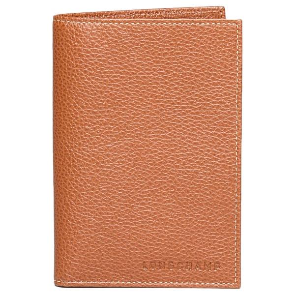 Longchamp Le Foulonne Cognac Leather Passport Wallet