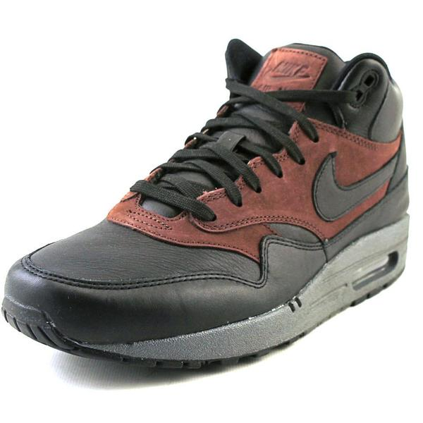 Nike Men's Air Max 1 Mid Deluxe QS Black Faux Leather Athletic Shoes
