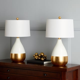 "Safavieh Lighting 24-inch Kingship White/ Gold Lacquer Glam LED Table Lamp (Set of 2) - 14""x14""x24"""