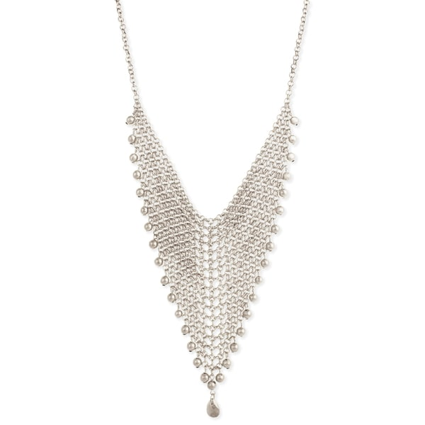 Silver Mesh Triangle Bib Necklace