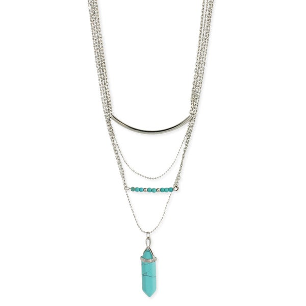 Silver Turquoise Crystal Layered Necklace