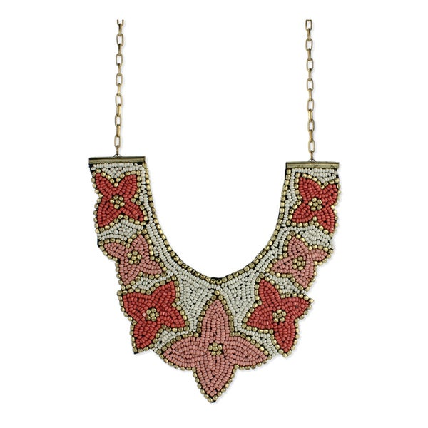 Handmade Coral Floral Beaded Fabric Bib Necklace