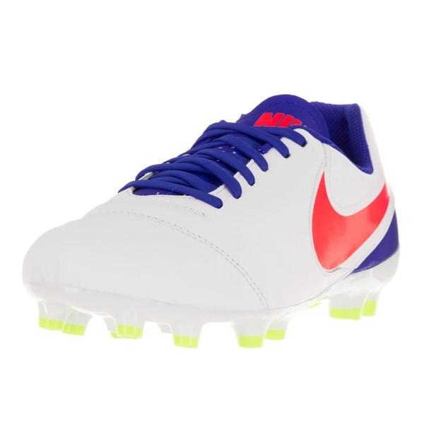 Nike Kids Jr Tiempo Legend White Leather Soccer Cleats