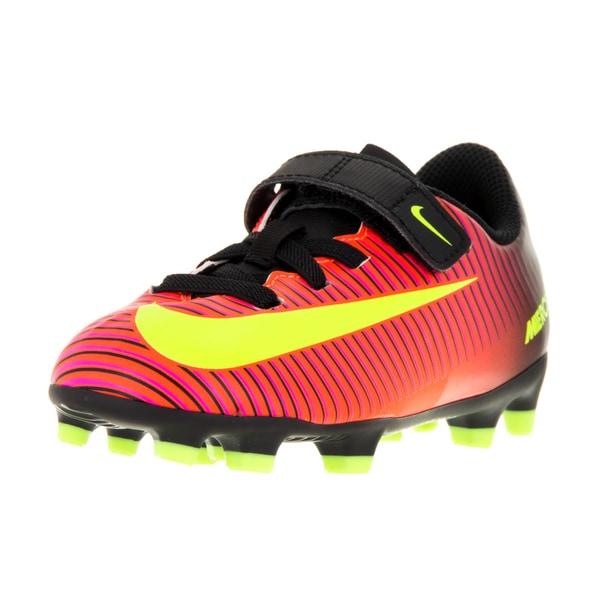 Nike Kids' Jr Mercurial Vortex III (V) FG Total Crimson/Black/Yellow Synthetic Soccer Cleats