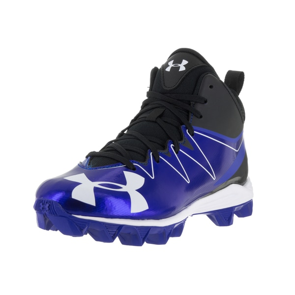 Under Armour Kids UA Hammer Mid RM Junior Black and Blue Football Cleat