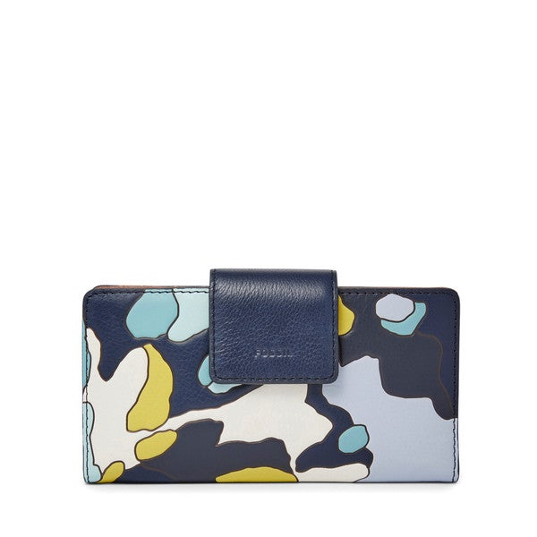 Fossil Emma RFID Tab Blue, Multi Leather Clutch