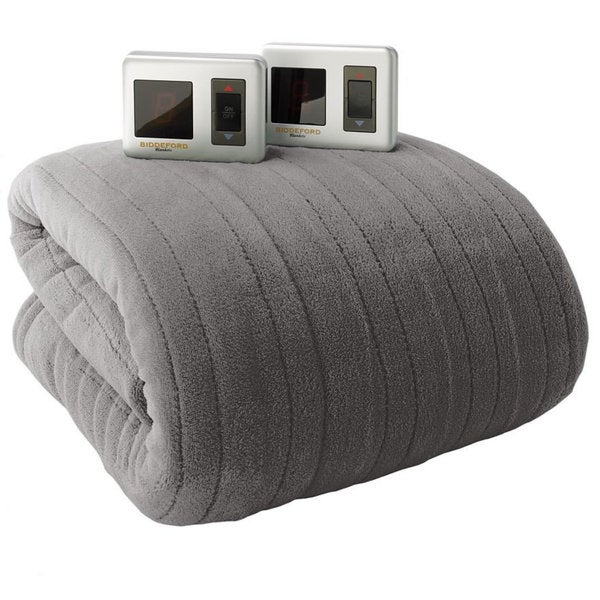 Biddeford Micro Plush Electric Heated Blankets with Digital Controls - Grey