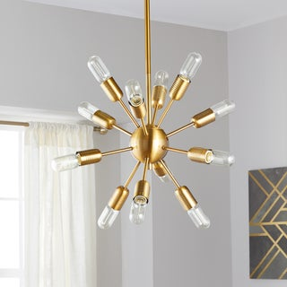 "Safavieh Lighting 17.5-inch Raging 12-light Gold Edison Bulb Solace Pendant - 17.5"" x 17.5"" x 37"""