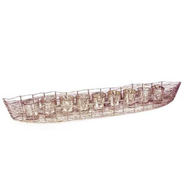 Costa Brava 'Iron Bowl' Silver Iron Glass Votive Candle Holder 22265285