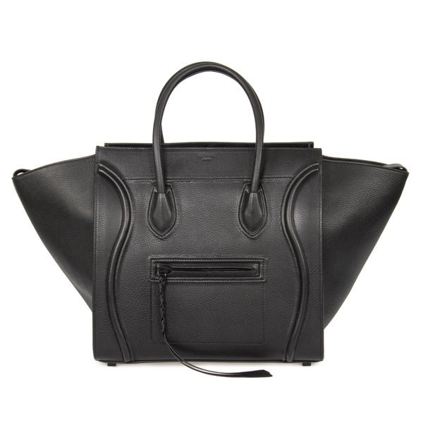 Celine Luggage Phantom Medium Black Leather w/ Black Interior Leather Handbag