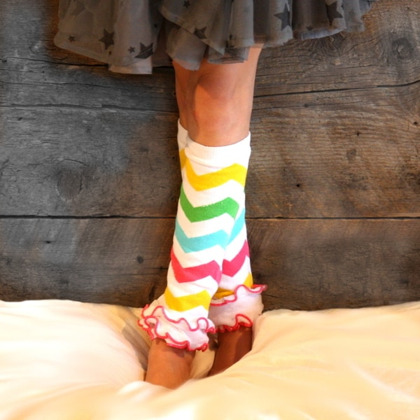 Girl's Rainbow Chevron Leg Warmers