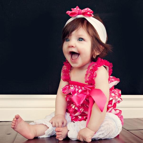 Girl's Hot Pink Polka Dot Romper