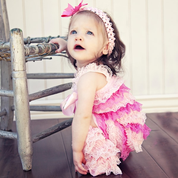 Girl's Light Pink and Baby Pink Lace Romper