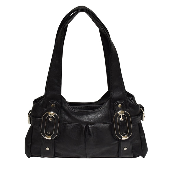 Donna Bella Jenny Black Faux Leather Shopper Tote Bag