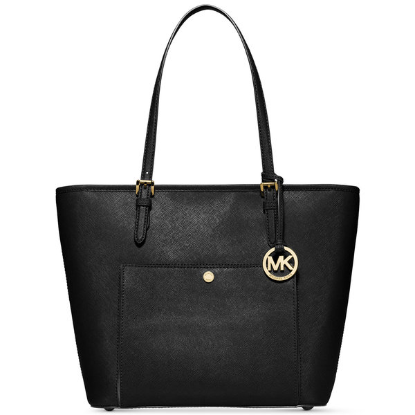 Michael Kors Jet Set Black Leather Top-zip Tote Bag