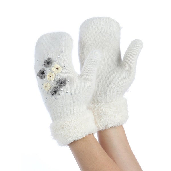 White Faux Rabbit Fur Lined Mittens Crocheted Flower Accents