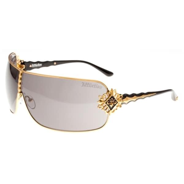 Affliction Unisex AFS Boomer Black and Metallic Gold-tone Sunglasses