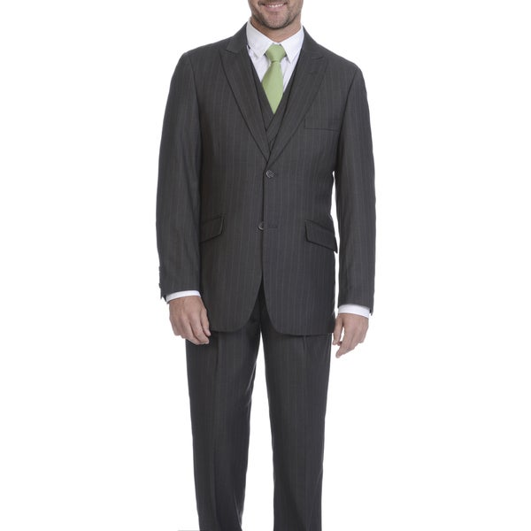 Blue Martini Men's Striped Polyester and Rayon 3-piece Suit 22266761