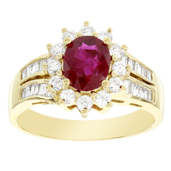 H Star 18k Yellow Gold Ruby 1 1/16ct and Diamond 5/8ct Fancy Cocktail Ring