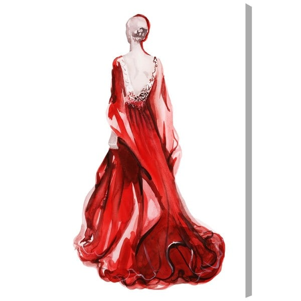 "Oliver Gal ""Red Dress - Gill Bay"" Canvas Art"
