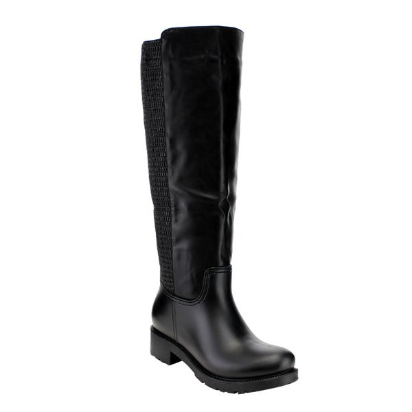 Women's Black Faux Leather Knee-High Block-Heel Rain Boots