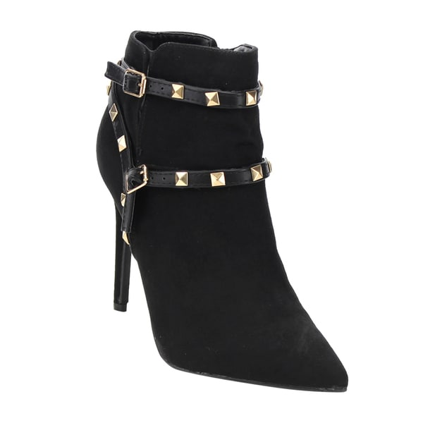 Anne Michelle Women's Black Faux-suede Studded Strappy High Stiletto Boots