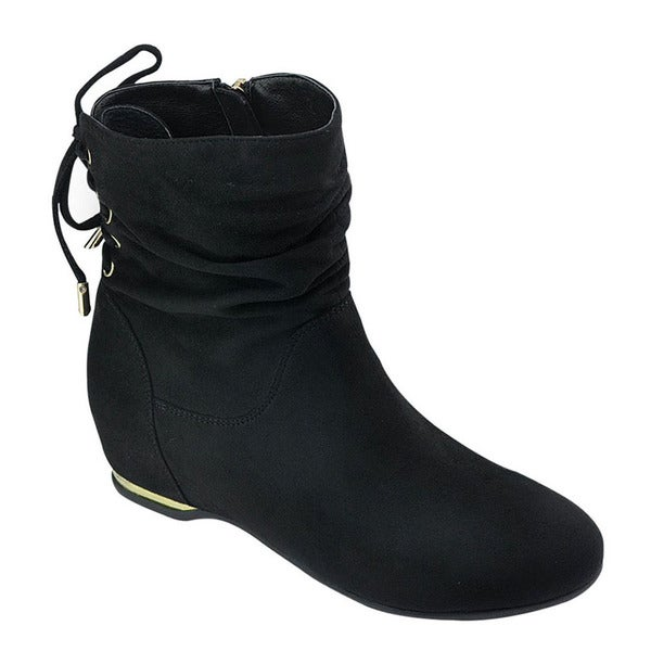 Bella Marie AD55 Women's Black Faux Suede Slouchy Lace-up Ankle Booties