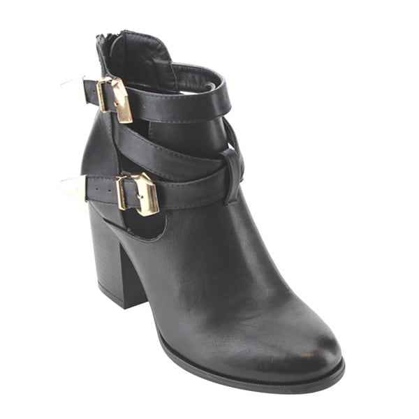 Women's Buckle Strap Block-Heel Ankle Booties