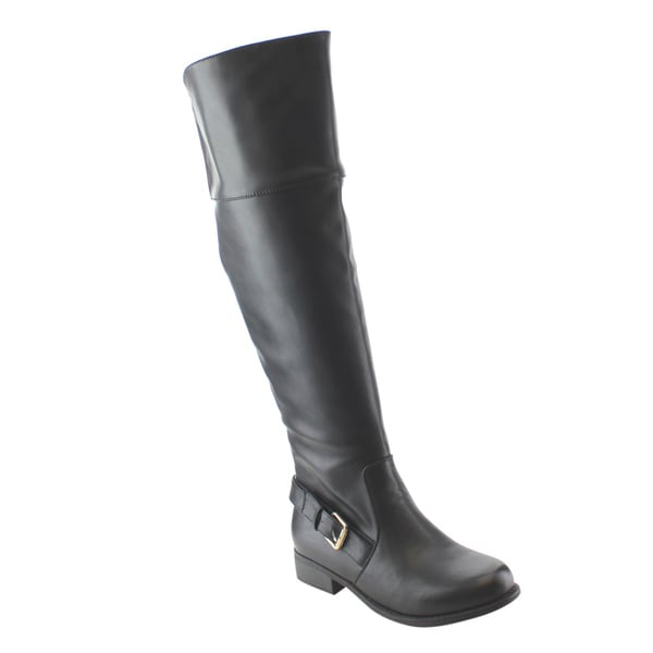 Refresh Women's Black Faux Leather Buckle-strap Elastic-panel Side-zipper Riding Boots