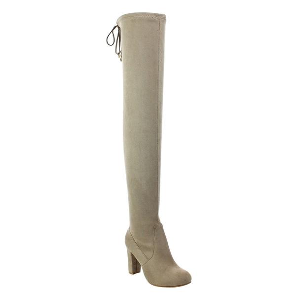 Refresh Women's Tan Faux Suede Inside Half Zipper Drawstring High-heel Thigh-high Boots