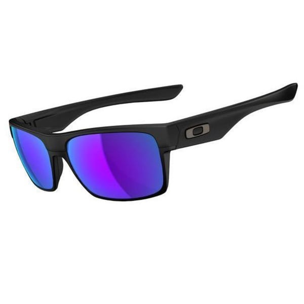 Oakley Men's Twoface Matte Black Plastic Rectangular Violet Iridium Lens Sunglasses