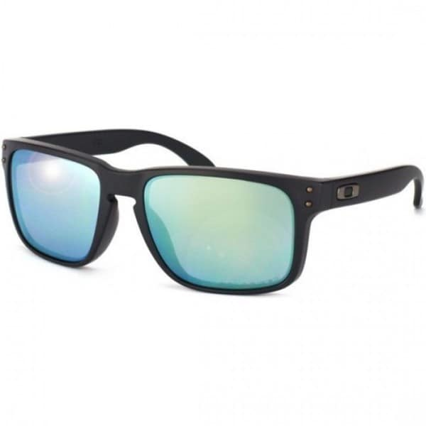 Oakley Men's Holbrook Matte Black Rectangular Sunglasses with Polarized Emerald Iridium Lenses