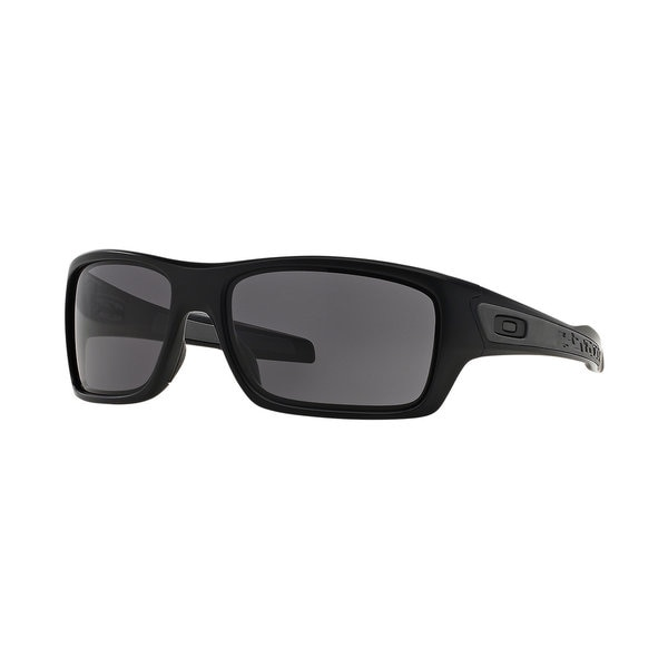 Oakley Turbine Matte Black and Warm Grey Lens Plastic Rectangular Sunglasses