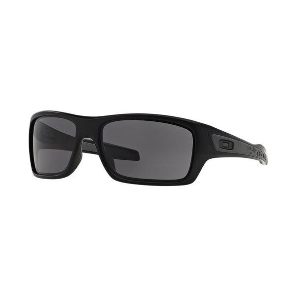 Oakley Turbine Matte Black and Warm Grey Lens Plastic Rectangular Sunglasses