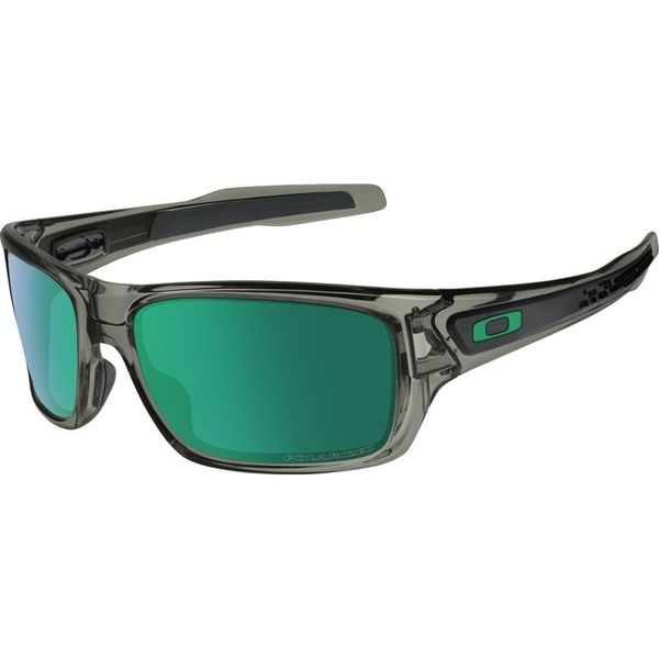 Oakley Men's Turbine Grey Plastic Rectangular Jade Iridium Polarized Sunglasses