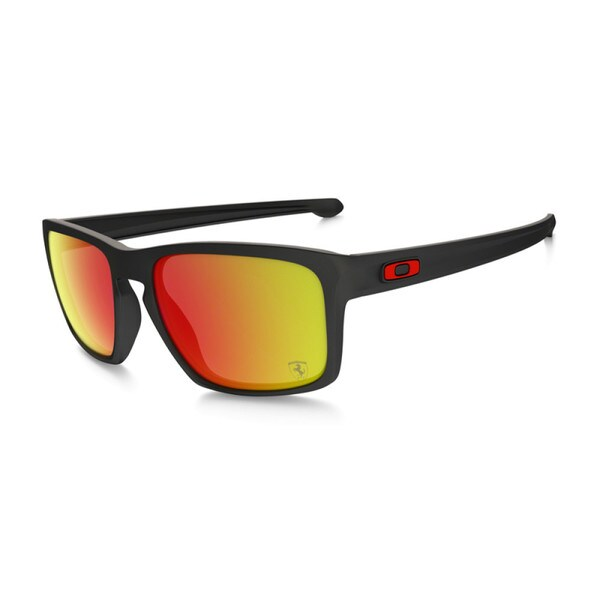 Oakley Men's Sliver Matte Black and Fire Iridium Lens Plastic Rectangular Sunglasses