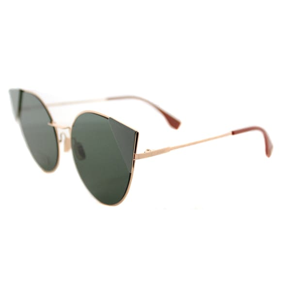 Fendi FF 0190 DDB LEI Gold Copper Metal Cat-Eye Green Lens Sunglasses