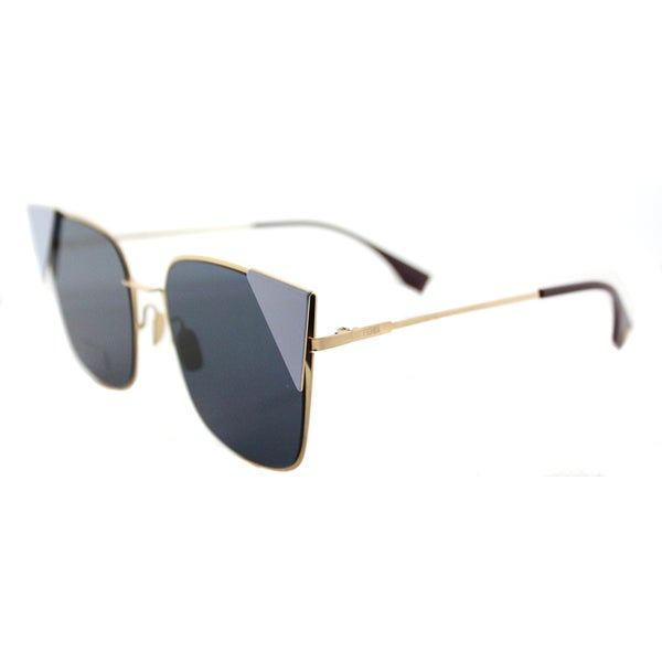 Fendi FF 0191 000_A9 LEI Rose Gold Brown Metal Cat-Eye Blue Mirror Lens Sunglasses