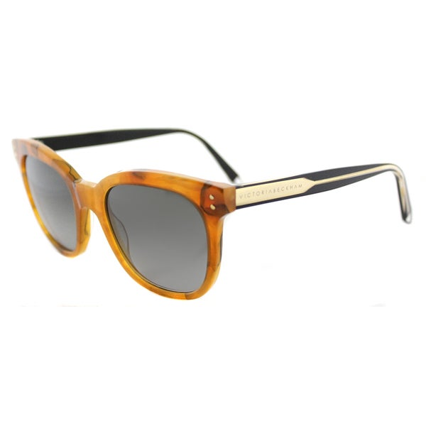 Victoria Beckham VBS 94 C20 The VB Carmel Marble Plastic Square Blue Gradient Zeiss Lens Sunglasses