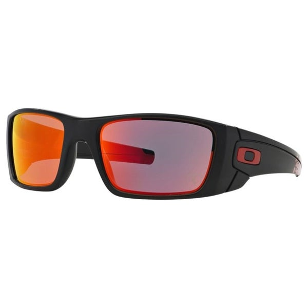 Oakley Men's Fuel Cell Matte Black Plastic Rectangular Sunglasses with Ruby Iridium Lens