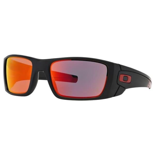 Oakley Men's Fuel Cell Matte Black Plastic Rectangular Sunglasses with Ruby Iridium Lens