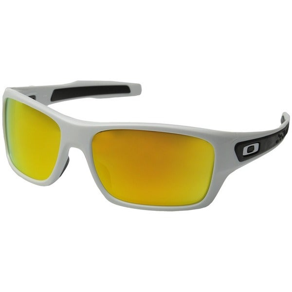 Men's Turbine Polished White Iridium Plastic Rectangular Sunglasses with Fire Iridium Lens