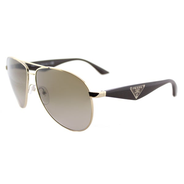 Prada PR 53QS ZVN1X1 Triangle Pale Gold Metal Aviator Brown Gradient Lens Sunglasses