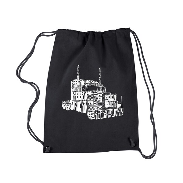 LA Pop Art 'Keep On Truckin' Black/White Cotton Drawstring Backpack