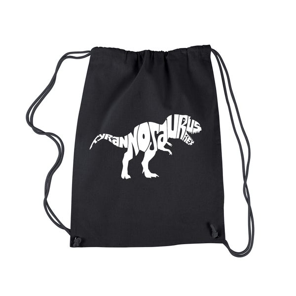 Los Aangeles Pop Art Tyrannosaurus Rex Black Cotton Drawstring Backpack